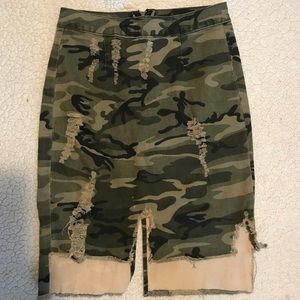 Fashion Nova Army Fatigue Denim Skirt